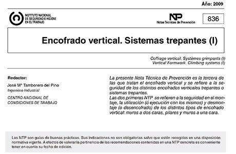 NTP 836: Encofrado vertical. Sistemas trepantes (I)