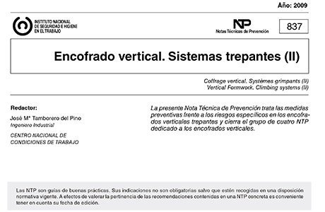 NTP 837: Encofrado vertical. Sistemas trepantes (II)